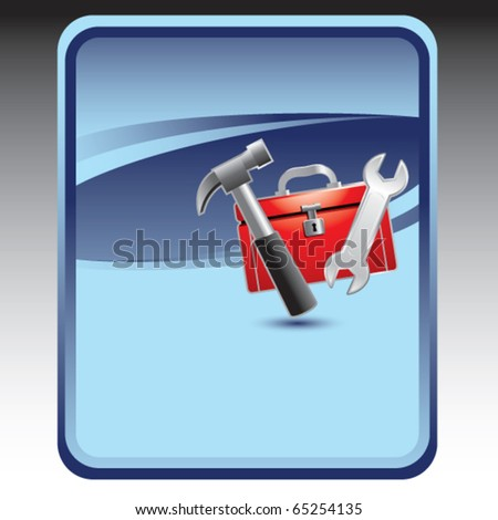 toolbox blue background - stock vector