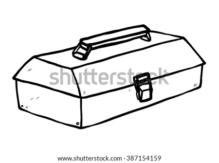 toolbox / cartoon vector and illustration, black and white, hand drawn, sketch style, isolated on white background. - stock vector