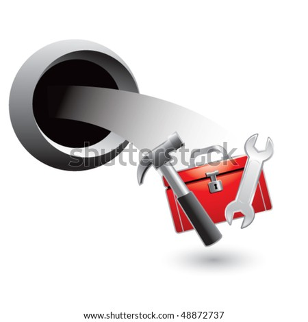 toolbox coming out of hole - stock vector