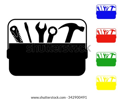 toolbox icon - vector colored set