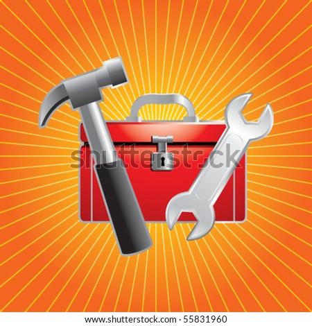 toolbox orange starburst - stock vector