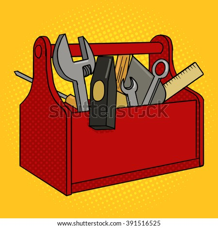 tool box clipart. toolbox red color with tools pop art style vector illustration comic book imitation tool box clipart