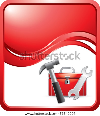 toolbox red wave background - stock vector