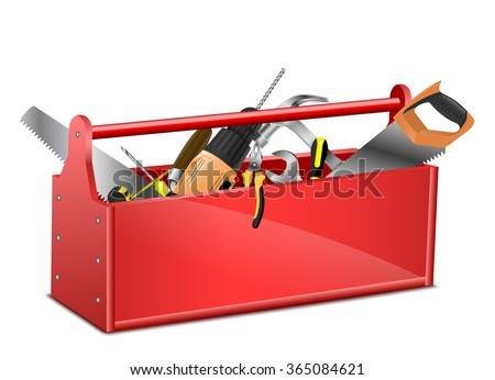 Toolbox with tools - stock vector
