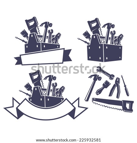 Toolbox with tools, design elements. Vector illustration. - stock vector