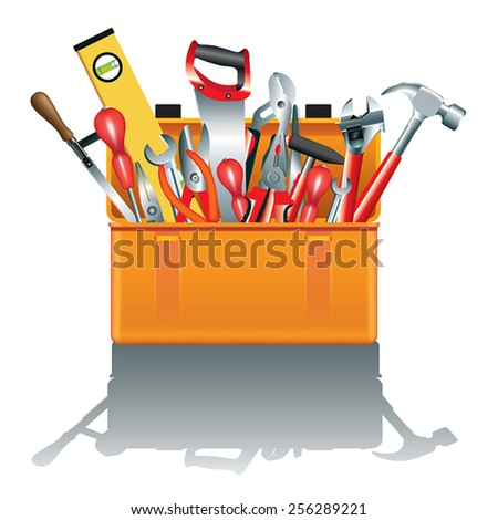 Toolbox with tools isolated on white. Vector illustration