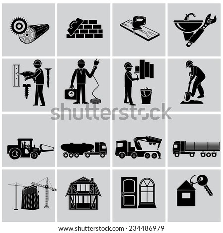 Tools and equipment for constructions - vector illustration - stock vector