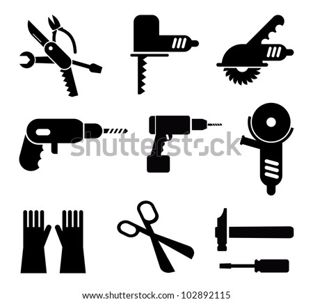 Tools and Equipment - set of isolated vector pictograms. Black icons on white background. - stock vector