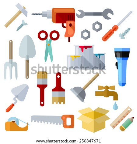 Tools and materials for the repair and construction. Colorful vector flat icons. Isolated objects on white background. Collection of elements and concepts for web and mobile apps. Vector file is EPS8. - stock vector