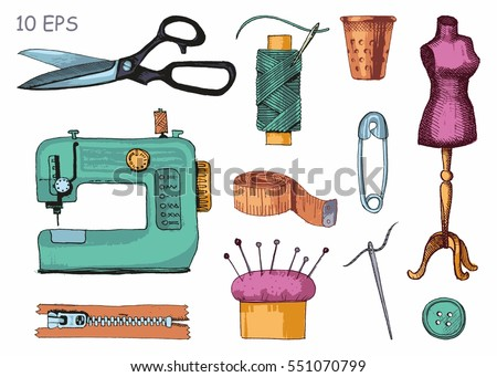 Tools and materials sewing and needlework. Vector sketch.