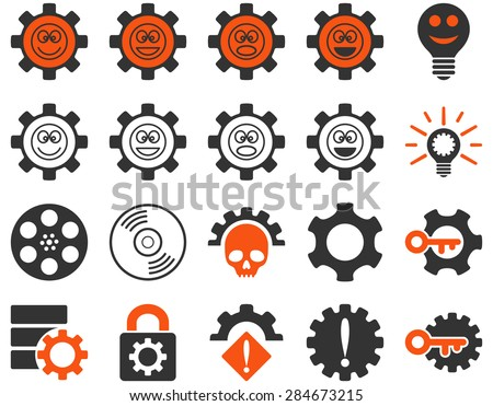 Tools and Smile Gears Icons. Vector set style: bicolor flat images, orange and gray colors, isolated on a white background.