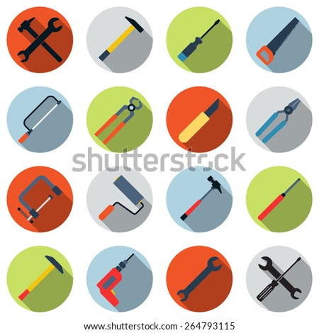 Tools colorful icon vector set. Flat design style elements collection. - stock vector