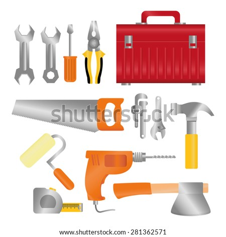 Tools design over white background, vector illustration. - stock vector