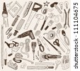 tools doodles - vector set - stock vector