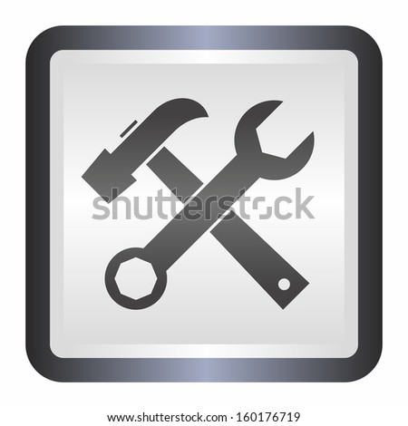 Tools (elegance silver button, black version) - stock vector