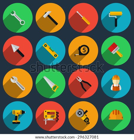 Tools flat icons set. Roller and saw, screwdriver and spanner, drill and roulette, spatula and helmet, jig and brush. Vector illustration - stock vector