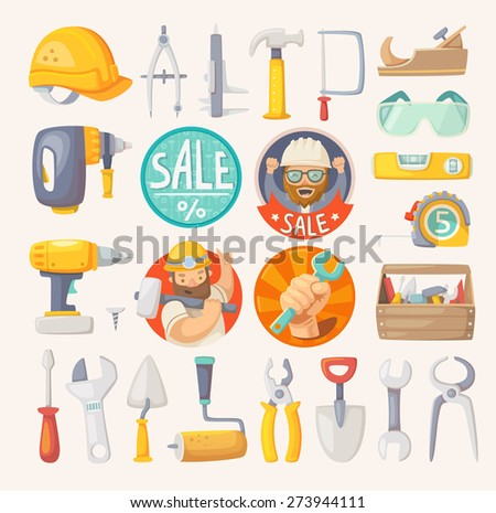 Tools for building, construction and house remodeling. Labels for hardware store. - stock vector
