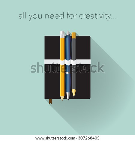 Tools for creativity, flat design. - stock vector