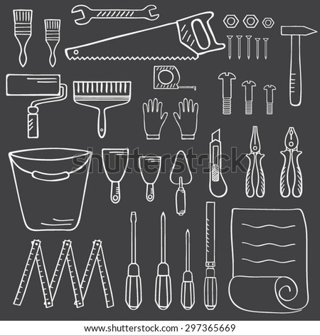 Tools for home repair. Vector illustration of Construction Equipment hand drawn sketches.