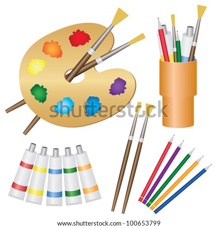Tools for paintings, paintbrushes, pencils, palette on the white background. - stock vector