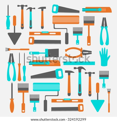 Tools for rack and repair. Spatulas, pliers, roll, screwdriver, gloves, a ruler, brush, building knife, saw. - stock vector