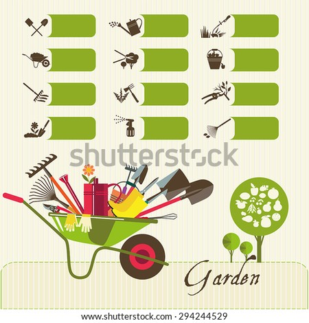 Tools for working in the garden.  Icons on the theme of organic farming. Symbols stages of cultivation of plants. - stock vector