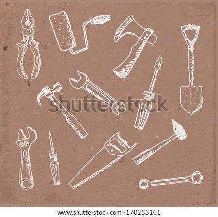 Tools hand drawn on brown paper. Vector illustration. - stock vector