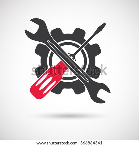 Tools icon. Gear, Screwdriver and wrench. Wrench, screwdriver and gear vector icon isolated on white batskground - stock vector