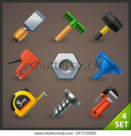 tools icon set-4 - stock vector