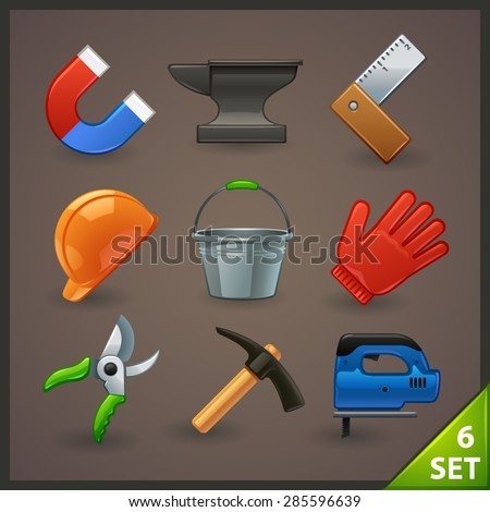tools icon set-6 - stock vector