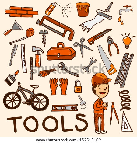 Tools icon set cartoon, EPS10 vector format - stock vector