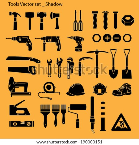 Tools icon set - silhouette - stock vector