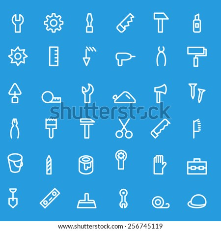 Tools icon set, simple and thin line design - stock vector
