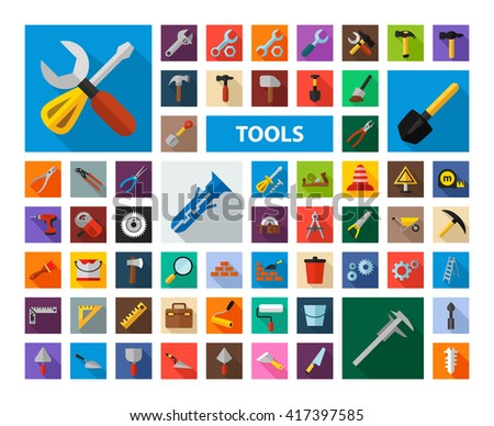 Tools icon set with long shadow effect for Web, Presentations and Mobile Application. Isolated on white background. Vector illustration. - stock vector