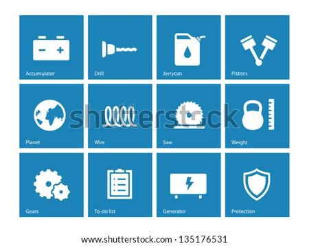 Tools icons on blue background. Vector illustration.