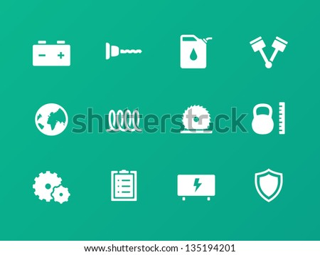 Tools icons on green background. Vector illustration.
