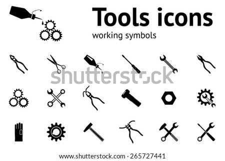 Tools icons set. Glue, pliers, tongs, wrench key, cogwheel, hammer, gloves, screw bolt, nut, scissors icons set. Repair fix tool symbols. Round 4 colors circle flat icons with long shadow. Vector - stock vector
