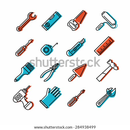 Tools icons set. Outline style. Elements for print, mobile and web applications. - stock vector