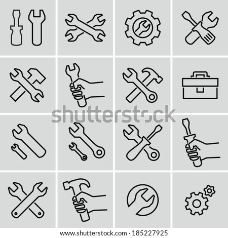 Tools icons. Strokes not expanded. Outlines not converted to objects. - stock vector