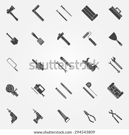 Tools icons - vector set of work tools logo or symbols - stock vector