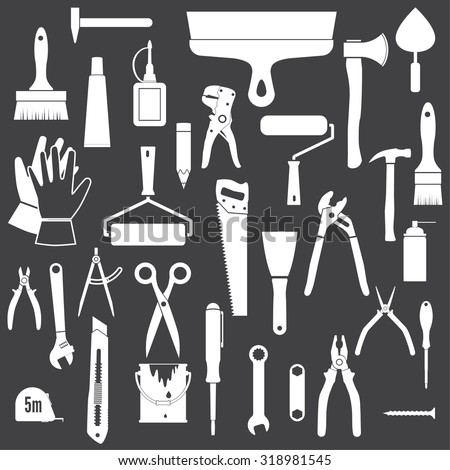 Tools Icons. White icons isolated on a black background. - stock vector