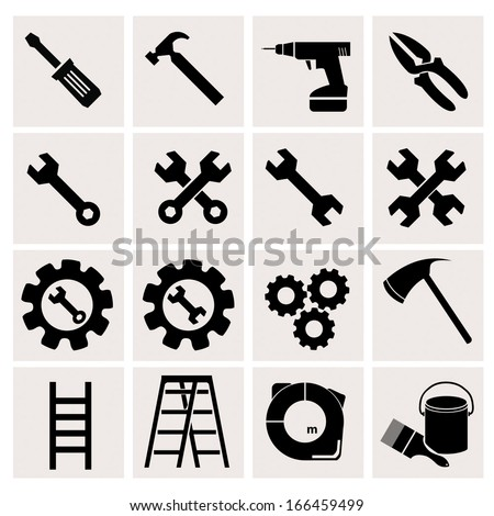 Tools icons with White Background - stock vector