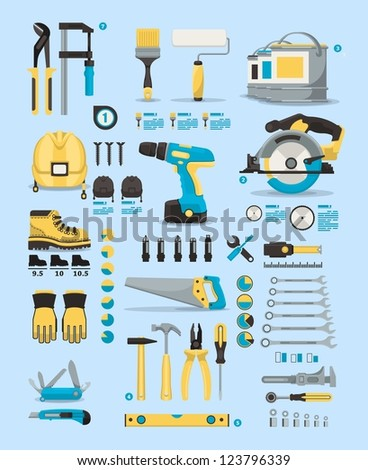 tools info graphic elements,vector icons - stock vector
