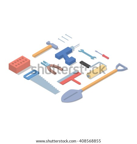 Tools isometric concept vector illustration - stock vector