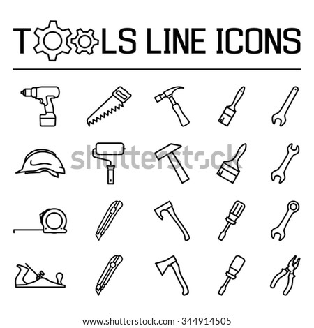 Tools line icons set. Vector