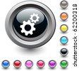 Tools  metallic vibrant round icon. - stock vector