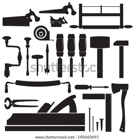 tools of the carpenter - stock vector
