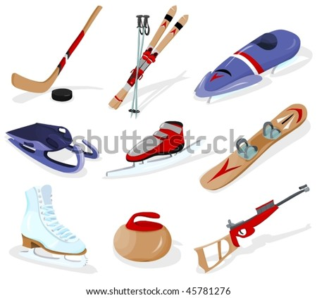 Tools of winter sports - stock vector