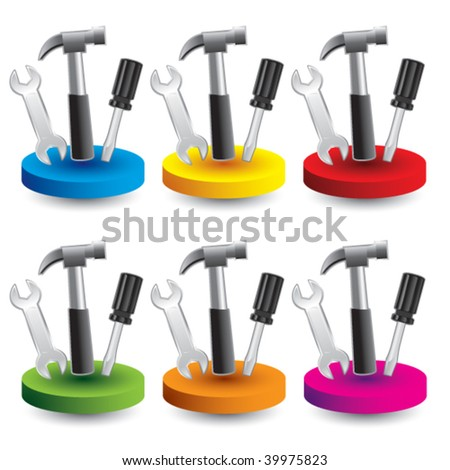 tools on colored discs - stock vector
