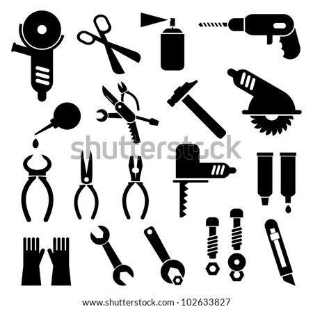 Tools - set of isolated vector icons. Black pictogram on white background.